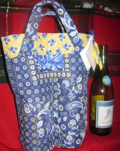 Wine Bag Quilted French Country With  Ribbon by BuffaloDesigns, $15.00
