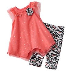 Fashion Trends In Kid Clothes - Give her unique appeal with this girls' Little Lass dress and leggings set. Sparkle accents and an asymmetrical hem lend a cute look while zebra-print leggings offer wild style. In coral/white/black. Price $18 TAKE AN EXTRA 20% OFF - See Details: http://www.everythingkids.co/fashion-trends-in-kid-clothes/