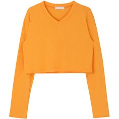 V-Neck Crop Top (€22) ❤ liked on Polyvore featuring tops, loose fit tops, orange top, v-neck tops, cut loose tops and orange crop top