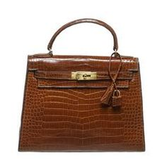Hermes Miel Shiny Crocodile 28cm Kelly Handbag GHW
