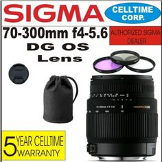 Sigma DL-M DG (Motorized) Telphoto Zoom Lens for Canon Digital SLR Cameras + 3 Piece Filter Kit with Case + Lens Case + Celltime 5 Year Warranty Canon Zoom Lens, Telephoto Zoom Lens, Nikon Digital Camera, Canon Digital, Hdmi Cables, 5 Years, Filters, 3 Piece, Cameras
