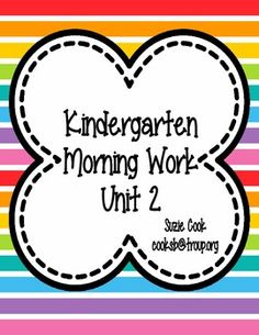 This is a preview of my second nine weeks kindergarten morning work. It is a week's worth of morning work (or assessment, documentation, homework, etc.). If you are interested in buying the complete set click on the following link: http://www.teacherspayteachers.com/Product/Kindergarten-Morning-Work-Unit-2-SECOND-nine-weeks-100-Common-Core-889572The following is the description for the entire bundle.