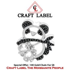 """Black & White Genuine Diamond Mother & Me Panda Pendant Without Chain *For Mom Or Baby* """"Mother\'s Day Gift"""". Starting at $89"""