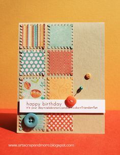 A way of using scraps - nice use of buttons for extra dimension