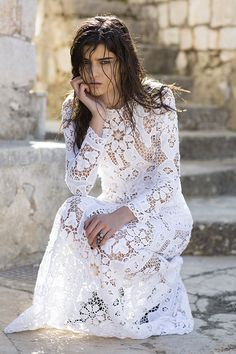 she channels white it its unadulterated form; purity, innocence and virginity, the light and the goodness all in one. White Lace, White Dress, Marie, Bohemian, Wedding Dresses, Spirit, Princesses, Collection, Fashion