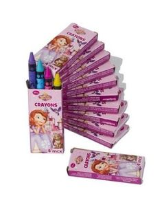 These mini boxes of 4 crayons each are perfect party favors at your Sofia the First birthday party. Each box has different colors. Includes 12 crayon boxes.