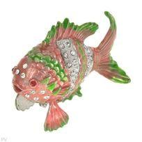 Beautiful Crystal Adorned Goldfish Trinket Box *Free S & H*