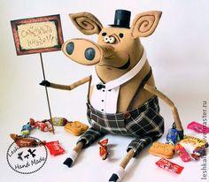 Ароматизированные куклы ручной работы. Ярмарка Мастеров - ручная работа. Купить Мистер Свин. Handmade. Свин, смешной, пластика