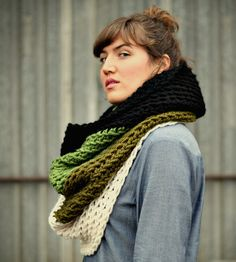 Ombré Cowl Neck Scarf - Moss | Women's Bags & Accessories | Victory Garden Yarn |