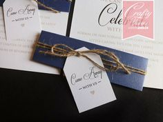 Wedding Card Malaysia | Crafty Farms Handmade : Navy Blue Beach Themed Wedding Card with Belly Band