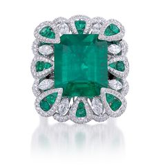 Miiori emerald and diamond cocktail ring