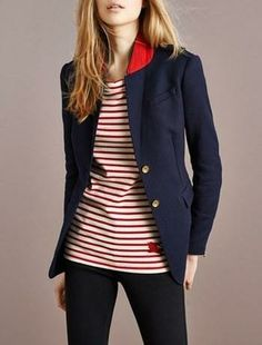 Be the captain. Burberry stripe tee with navy blazer.