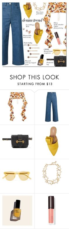 """""""Flare Up: Wide-Leg Jeans"""" by danielle-487 ❤ liked on Polyvore featuring E L L E R Y, MASSCOB, Prada, Lewit, Chimi, Ben-Amun, Cirque Colors, Thomas Sabo, denimtrend and widelegjeans"""