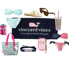"""""""Beach Necessities of a Princess"""" by classically-preppy on Polyvore"""