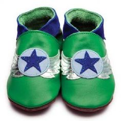 Green Baby Boys Shoes with Aviator Motif by Inch Blue