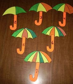 Spring Activities Theme for Preschool. This gives me an idea for a file-folder game! Put # raindrops on the appropriate umbrella!