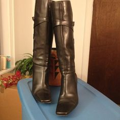 "Via Spiga Black Leather Boots Stylish & in excellent condition.  Shaft 15 1/2"", heel 3 1/2"", circumference 15"". Via Spiga Shoes"