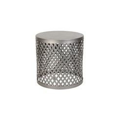 Silver Galvanized Metal Round Table   Lowe's Canada Allen Roth, Galvanized Metal, Metal Mesh, Portfolio Design, Stool, Lowe's Canada, Iron, Rust, Table
