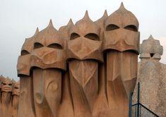 rooftop chimneys at Casa Mila, Barcelona, Spain