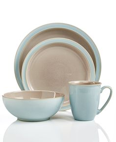 Denby Dinnerware, Duets Taupe and Blue 4 Piece Place Setting - Casual Dinnerware