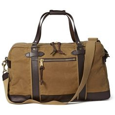 Duffle Medium ($495) ❤ liked on Polyvore featuring bags, brown bag, checked bags, duffle bag and duffel bags