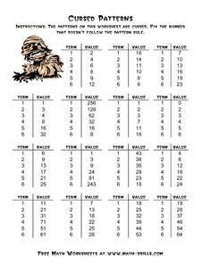 Halloween Math Worksheet -- Cursed Number Patterns (A)