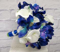 Blue orchid calla lily wedding bouquet Silk brides bouquet