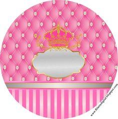 Corona Dorada en Fondo Rosa con Brillantes: Etiquetas para Candy Buffet de Fiesta de 15 Años para Imprimir Gratis.
