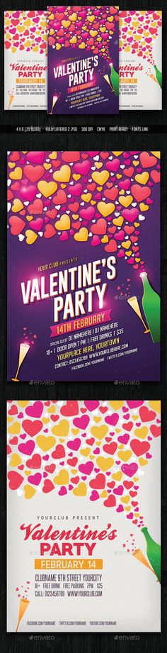 Valentine Party Flyer Template PSD #design Download: http://graphicriver.net/item/valentine-party-flyer/14299169?ref=ksioks