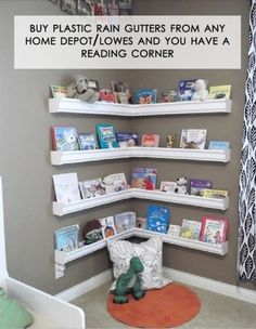 Rain gutters as book holders - could do this in the sitting area of the studio to hold all my vintage sewing and craft books?