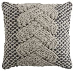 Grey Knitted Cushion