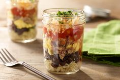 This breakfast burrito is perfect for on-the-go mornings. Enjoy all your favorite burrito toppings loaded into a no-spill mason jar. Ready in under 30 minutes. #JennieO