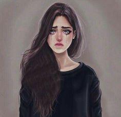 Crying girls - New Pin Girly M, Crying Girl Drawing, Cry Drawing, Crying Cartoon, Girl Drawing Pictures, Line Drawing Tattoos, Sarra Art, Crying Face, Sad Drawings