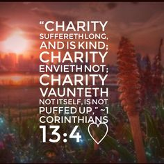 """The word """"charity"""" here is """"agape"""" which means brotherly love, affection, good will, love, benevolence.  The love of God, and of our neighbour for God's sake, is patient toward, all men. It, suffers all the weakness, ignorance, errors, and infirmities of the children of God; all the malice and wickedness of the children of the world: and all this, not only for a time, but to the end. And in every step toward overcoming evil with good, it is kind, soft, mild, benign. It inspires the sufferer…"""