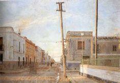"""Antonio Lopez Garcia """"Street of Santa Rita"""" oil on canvas, 1961"""