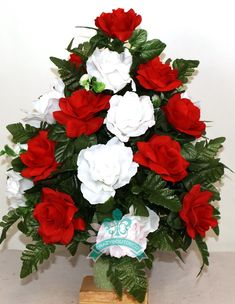 Beautiful XL Valentine's Day Mixture Cemetery Flowers for a 3 Inch Vase by Crazyboutdeco on Etsy Grave Flowers, Cemetery Flowers, Diy Flowers, Cemetery Vases, Grave Decorations, Memorial Flowers, Silk Flower Arrangements, Christmas Wreaths, Spring Wreaths