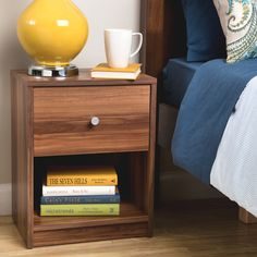 Add a simple but modern decor to your bedroom furniture collection with this chestnut-colored nightstand. Constructed of engineered wood with chestnut laminated finish, this night stand includes drawer at the bottom for all your nighttime necessities. Bedroom Furniture Stores, Apartment Furniture, Furniture Deals, Furniture Outlet, Online Furniture, Open Shelving, Shelves, Fashion Room, Bed Sizes