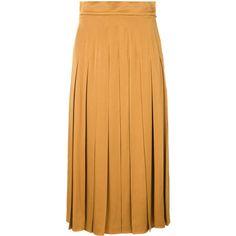 Fendi pleated skirt (27.050 ARS) ❤ liked on Polyvore featuring skirts, yellow, fendi skirt, nude skirt, pleated mid length skirts, beige skirt and yellow pleated skirt