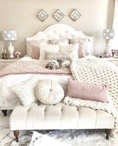 Ivory and blush bedroom - DIY Decor Ideas Cute Bedroom Ideas, Bedroom Inspo, Home Decor Bedroom, Decor Room, Blush Bedroom Decor, Bedroom Modern, Ivory Bedroom, Bedroom Wall, Bed Room