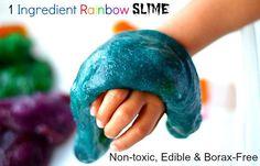 ONE INGREDIENT RAINBOW SLIME (via http://www.blogmemom.com/sensory-activities-for-kids-1-ingredient-edible-slime-recipe/)