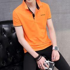 ซื้อเลย สินค้าแนวโน้มฝ้ายปกสลิมลำลองลายเสื้อยืดเสื้อยืด (สีส้มสีดำคอ)+ย้ำอีกครั้ง