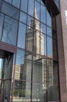 Taken on Public Square in downtown Cleveland, I really liked how the Terminal Tower was reflecting in the glass entrance to the BP Building. I'm not sure which one I like better, the single reflection or the double one.