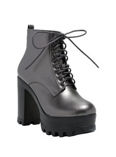 "<div>Take your time getting to shows with these ridged platform ankle booties! Waltz in fashionably late and still stand high above the crowd, even if you're not at the barricade. These lace-up booties have an amazing faux leather metallic pewter hue that pairs well with any color of skinny jeans or patterned tights.</div><ul><li style=""list-style-position: inside !important; list-style-type: disc !important"">Man-made materials</li>&l..."