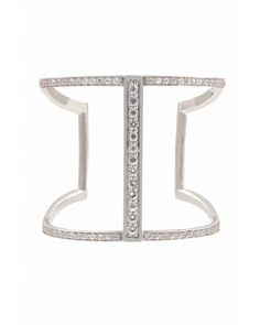 Kara Ross: Geometric Slip on Cuff, Sterling Silver with All White Sapphires