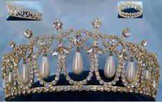 Cambridge Lover's Knot tiara Gold  Rhinestone full Crown - CrownDesigners