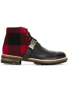 brogue panel ankle boots