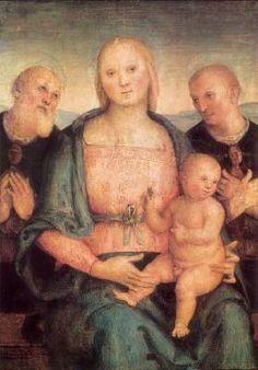 Virgin and Child with Saints - Pietro Perugino.  c.1515.  Oil on canvas.  79 x 56 cm.  Galleria Nazionale dell'Umbria, Perugia, Italy.