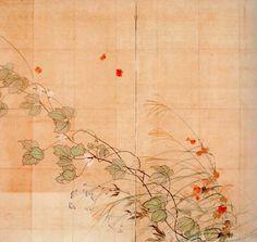 Sakai Hoitsu: Skizze zu einem Wandschirm mit der Darstellung von Sommer- und Herbstgras
