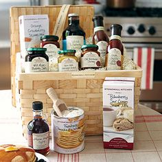 Stonewall Kitchen Taste of New England:   Take a vacation to New England with this basket of morning treats.  Get a perfect gift basket from Stonewall Kitchen