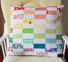 patchwork pillow. To interlink with white/plain fabric